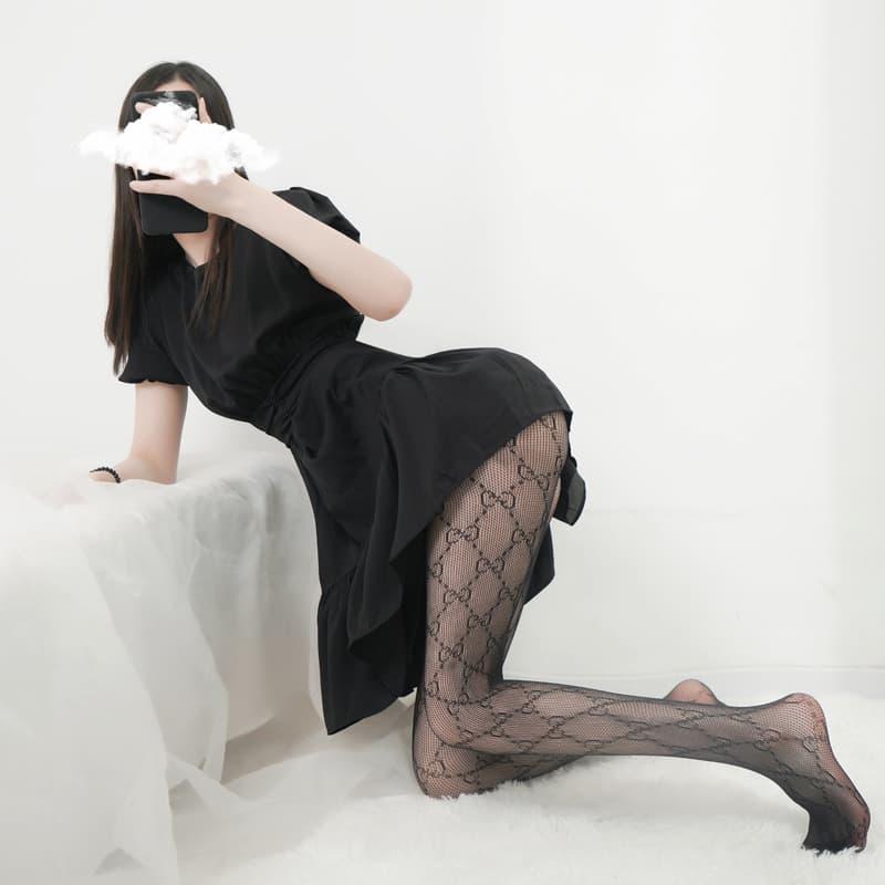 史黛丝 提花网袜镂空连裤弹性小网蕾丝花纹网袜