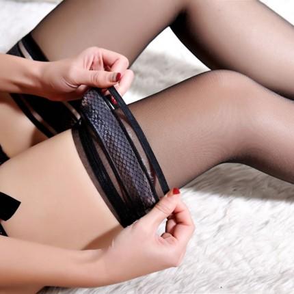 Aiyama sexy transparent jacquard thigh socks stockings with silicone non-slip
