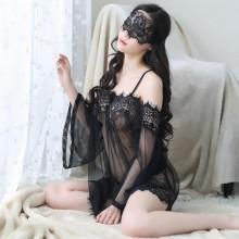 瑰若 性感露肩透视网纱蕾丝睡裙【透明袋包装】