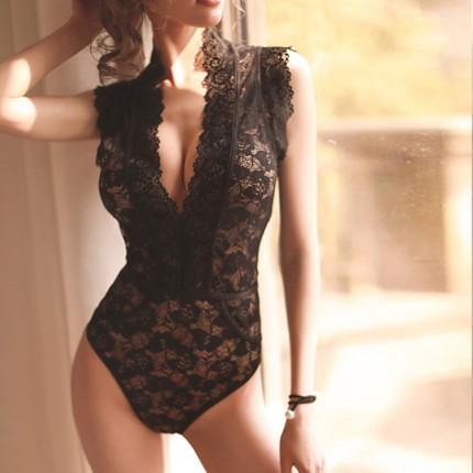 瑰若 性感制服诱惑花网蕾丝连体衣