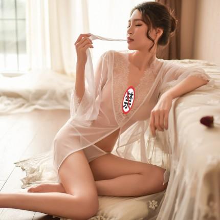 瑰若 透明蕾丝束腰显瘦睡裙